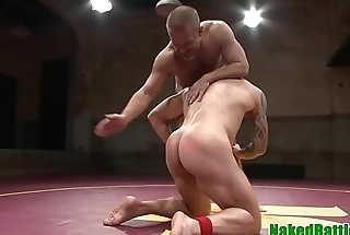 Cocksucking wrestling stud gets cum in mouth