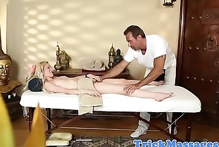 Amateur massage babe gagging on masseurs cock