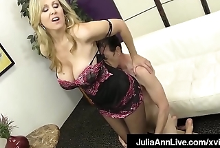 Stunning Blonde Milf Julia Ann Strokes Slave Cock With Feet!