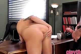 Perfect blonde with pointy tits gets fucked on a table