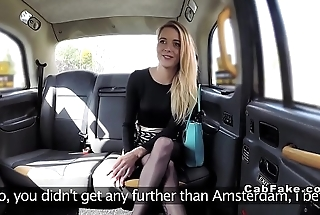 Blonde sucks long dick to fake taxi driver
