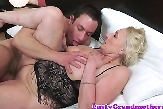 Saggy grandma in lingerie fucked passionately