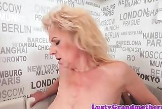 Saggy granny jizzed on hairy pussy by bbc