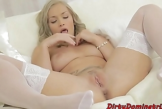 Classy mistress teasingly toying her pussy
