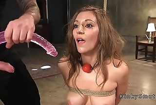 Beautiful slave gets anal sex in bondage