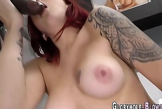Redhead sucks black dick