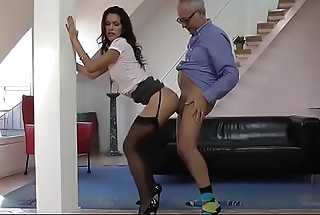 Old guy scores with a babe