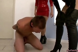 Hot mistresses slapping sub slaves