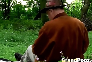 Horny grandpa has a deep forest adventure with a sexy teen