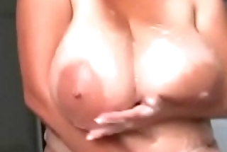 BBW beauty taking shower playing boobs
