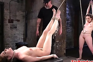 Restrained babes pussytoyed in BDSM threesome
