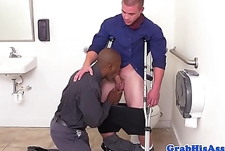 Ripped black stud ass screwed by office boss