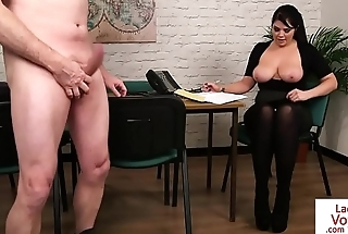 Busty voyeur instructing guy how to tug
