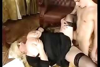 Huge blonde teacher fucks with student