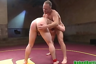 Wrestling hunk assfucked and cock tugged