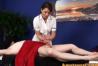 British cfnm masseuse seducing clients dick