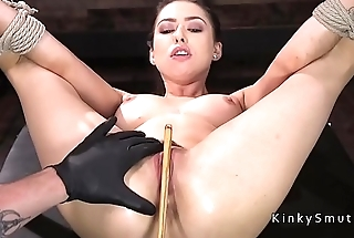 Gagged bound slave pussy fucked with toy