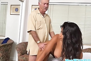 Amateur ebony nurse gets banged by pensioners