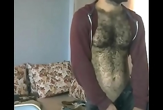 Turkish hariy chest playing with his bulge through jeans