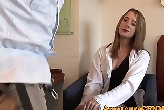 Cock stroking CFNM babe pleases her client