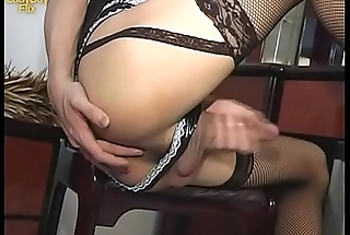 Thai Ladyboy Vicky stroking her superior Asian cock