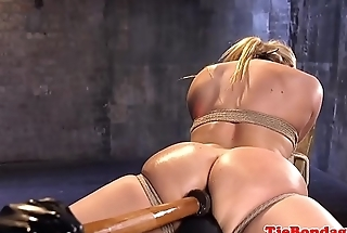 Gagged bdsm babe gets her asshole toyed