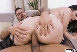 Awesome brunette blows big cock before anal fucking