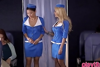 Busty blonde stewardess gets fucked by a passenger