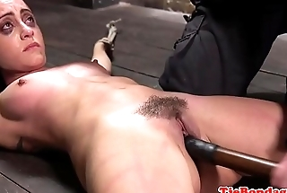 Gagging sub flogged and pussy dildoed