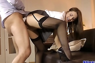 Classy UK babe fucked from behind by old man